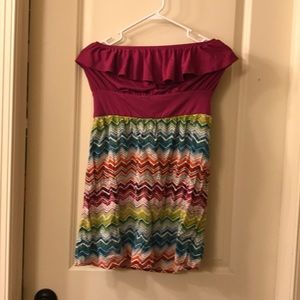 Fuschia strapless dress
